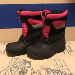 Totes Girl Boots; Pink and Black; Snow Winter